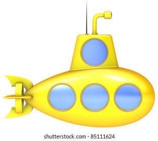 Yellow submarine isolated on white background.