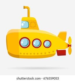 Yellow Submarine with periscope, bathyscaphe cartoon, underwater ship Flat design.