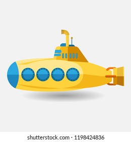 yellow submarine with periscope, flat design. cartoon style