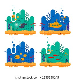Yellow submarine with periscope underwater concept. Marine life with fish flock, angler fish, coral, seaweed, colorful blue ocean landscape. Bathyscaphe template for banner, poster or flyer cover -