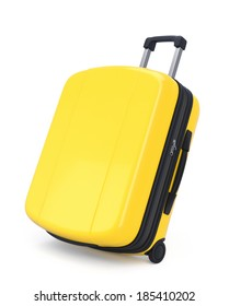 Yellow Suitcase isolated on white. Clipping path