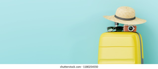Yellow suitcase with sun glasses, hat and camera on pastel blue background. travel concept. 3d rendering