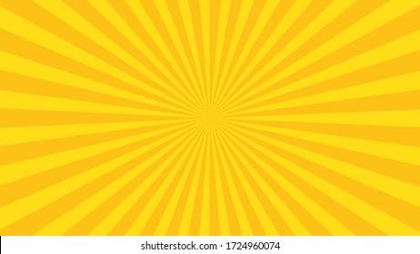 Yellow sun rays. Pop art and comic style backgound.
