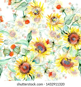 Yellow sunflower floral botanical flowers. Wild spring leaf wildflower. Watercolor illustration set. Watercolour drawing fashion aquarelle. Seamless background pattern. Fabric wallpaper print texture.