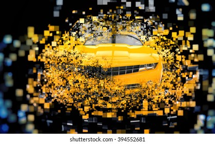 Yellow supercar - abstract pixel illustration