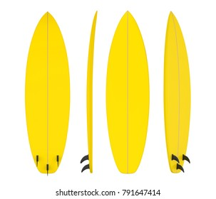 Yellow Surfboard Isolated. 3D rendering