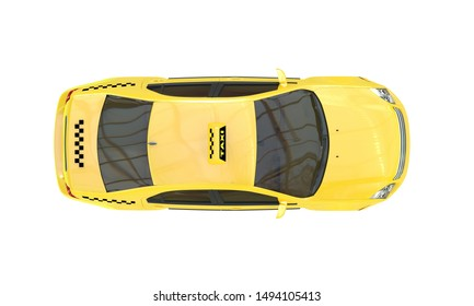 Yellow taxi car isolated on a  white background. Top view. 3D rendering.