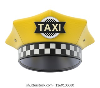 Yellow taxi driver cap isolated on white background - 3D illustration