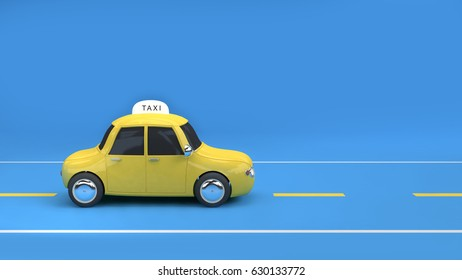 yellow taxi on road blue background 3d rendering