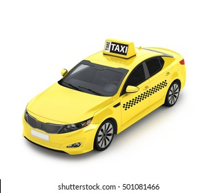 Yellow taxis. 3d illustration