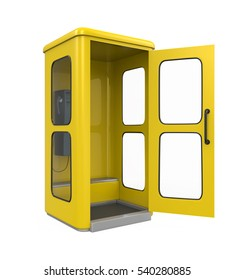 Yellow Telephone Booth. 3D rendering
