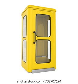 Yellow Telephone Booth Isolated. 3D rendering