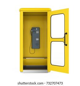 Yellow Telephone Booth with Open Door. 3D rendering