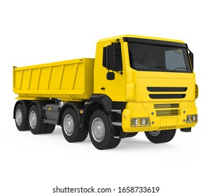Yellow Tipper Dump Truck Isolated. 3D rendering