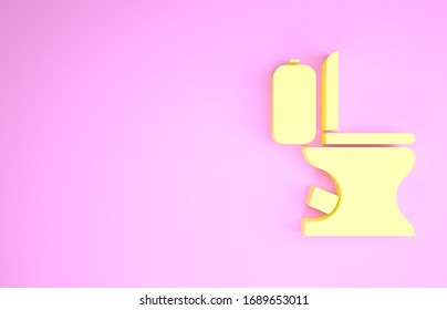 Yellow Toilet bowl icon isolated on pink background. Minimalism concept. 3d illustration 3D render