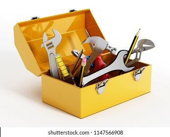 Yellow toolbox with hand tools. 3D illustration.