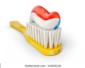 yellow toothbrush isolated on a white background