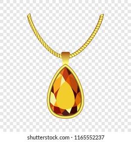 Yellow topaz jewelry icon. Realistic illustration of yellow topaz jewelry icon for on transparent background