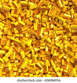 Yellow toy bricks background. 3D Rendering.