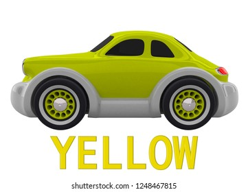 Yellow toy car and an inscription with the name of the color. Isolated on white background. 3D render