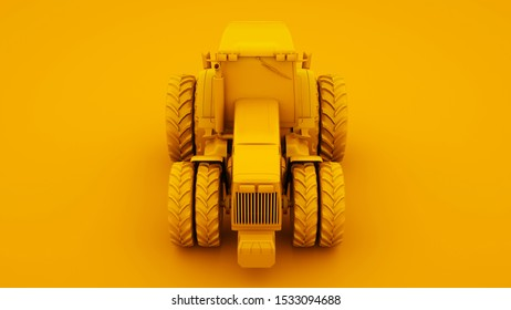 Yellow Tractor. Minimal idea concept. 3d illustration