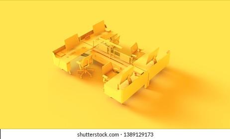 Yellow Traditional 4 Desk Office Setup 3d illustration 3d rendering