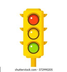 Yellow traffic light icon, illustration in flat cartoon style.