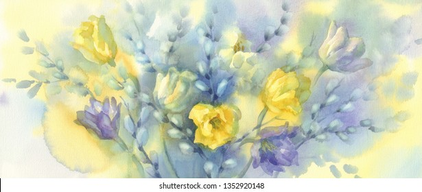 yellow tulips with pussy willow branches watercolor background