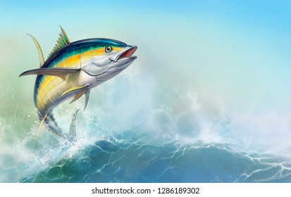 Yellow tuna. black fin yellow tuna on white. Big fish on the background of large waves. Realistic isolated illustration.