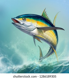 Yellow tuna. black fin yellow tuna on white. Big fish on the background of large waves.