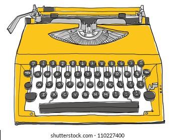 yellow Typewriter ,old Typewriter, art hand drawn,art vintage,Typewriter vintage,cute illustration