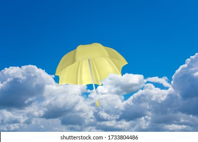 A yellow umbrella flies above the clouds. 3d rendering