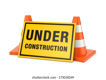 Yellow Under construction sign and two orange road cones isolated on white background
