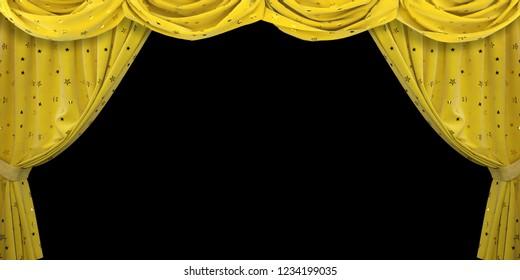 Yellow velvet curtain on black background. 3D illustration