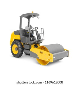 Yellow Vibratory Asphalt Compaction Isolated on White Background. Articulated Compact Tandem Road Roller. Road Making Machine. 3D Rendering. Side View of Heavy Construction Machinery. Technology