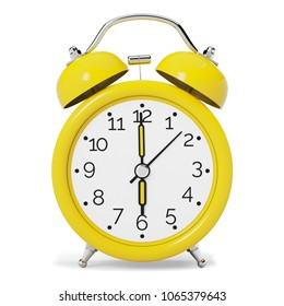Yellow Vintage Alarm Clock isolated on White Background. Front View. 3D illustration