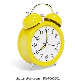 Yellow Vintage Alarm Clock isolated on White Background. 3D illustration