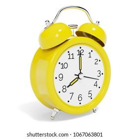 Yellow Vintage Alarm Clock isolated on White Background. 3D illustration