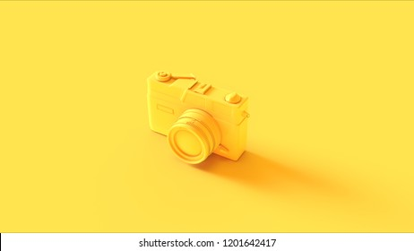 Yellow Vintage Camera 3d illustration 3d render