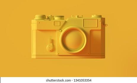 Yellow Vintage Camera with Adjustable Lens 3d illustration 3d render