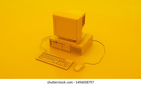 Yellow Vintage Computer Keyboard and Mouse. 3d illustration.