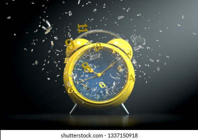 A yellow vintage desk clock with its numbers smashing through the glass screen on a dramtic spotlit background- 3D Render