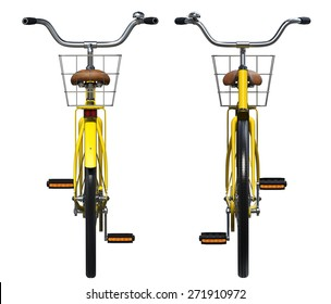 Yellow Vintage Style Bicycle. Front and back view
