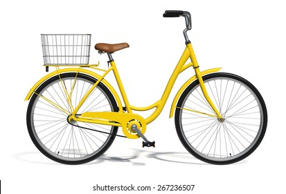 Yellow Vintage Style Bike isolated on white