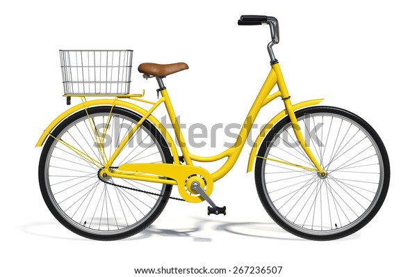 Yellow Vintage Style Bike isolated on white