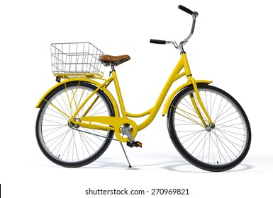 Yellow Vintage Style Bike on White