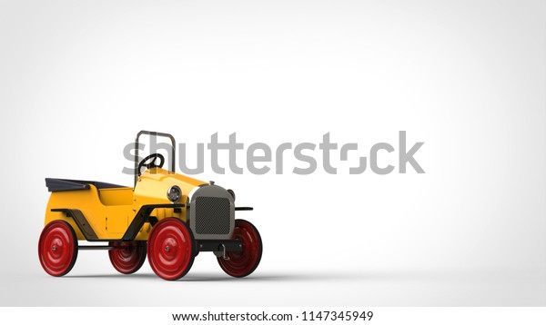 Yellow vintage toy car with red wheels - 3D Illustration