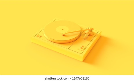 Yellow Vintage Turntable Record Player 3d illustration