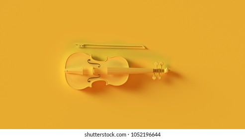 Yellow Violin 3d illustration 3d rendering