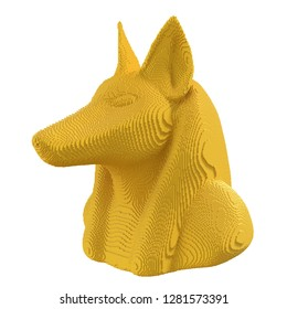 Yellow voxel Anubis head on a white background. 3D illustration.